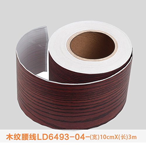 Jedfild Self-Adhesive Stringcourse Sticker Waterproof Oil Resistant Kitchen and Bathrooms, Kicks line Mosaic Tiles Wall Decoration, Stringcourse Rosewood Ribbed Wide 10cm Long 3m. ()