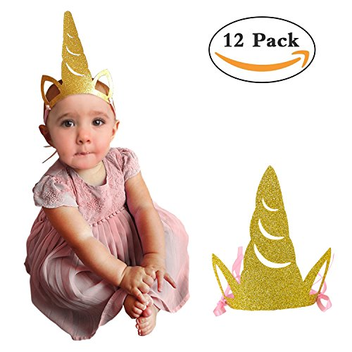 Unicorn Party Horn Hats Glitter Gold Unicorn Headband Party Supplies as Props for Kids Birthday Party Baby Shower or Kindergarten Class Party - Must Have for Pony Fans - Upgrade Version 12pcs