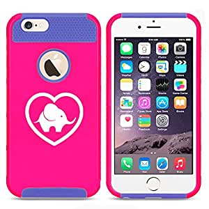 Apple iPhone 6 6s Shockproof Impact Hard Case Cover Heart Love Elephant (Hot Pink-Blue)