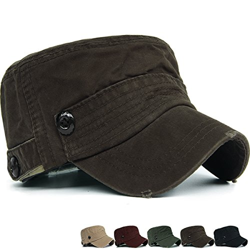 REDSHARKS Cadet Cap Military Army Flat Top Hat Adjustable Denim Distressed Big Head Size ()