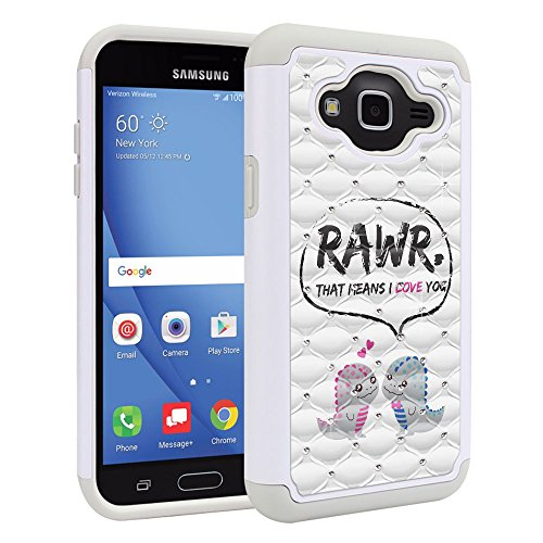 - Samsung Galaxy J3 J310 J320 (2016) Amp Prime Express Prime Sol J321 J3 V Sky S320 Case, Fincibo (TM) Dual Layer Shock Proof Hybrid Protector Cover Anti-Drop Silicone Rhinestone, Dinosaurs Love Story
