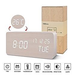 White Desk Alarm Clock-FiBiSonic LED Digital Alarm Clock USB Powered Modern Wood Clock