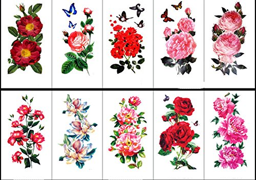 10 Sheet Body Art Temporary Tattoos Paper, Flowers, Roses, Butterflies and Multi-Colored Waterproof Tattoo for Women, Girls or Kids