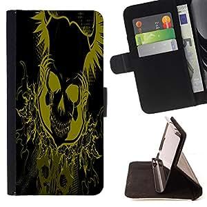 BullDog Case - FOR/Sony Xperia Z1 L39 / - / Yellow Floral Skull Skeleton /- Monedero de cuero de la PU Llevar cubierta de la caja con el ID Credit Card Slots Flip funda de cuer