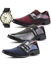 Kit 3 Pares Sapato Social Neway Masculino Marrom, Bordô e Azul + Relógio