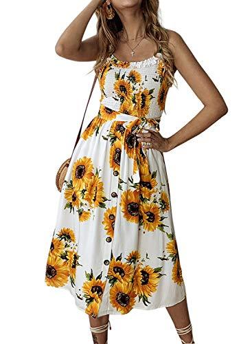 ZESICA Women's Bohemian Spaghetti Strap Floral Printed Tie Waist Backless Beach Swing Midi Dress with Pockets (Waist Cinch Strap)