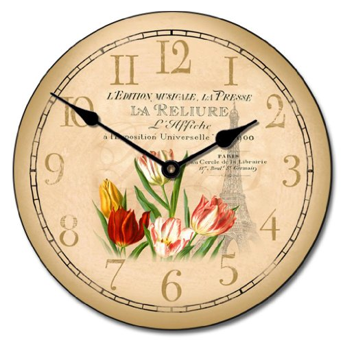 Springtime in Paris Wall Clock, Available in 8 sizes, Most Sizes S