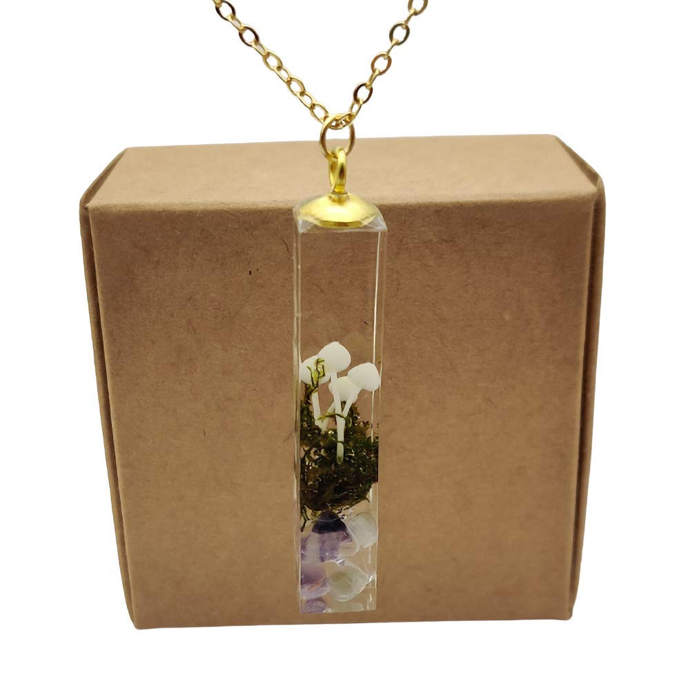 Resin Pendant Necklace with gold chain!