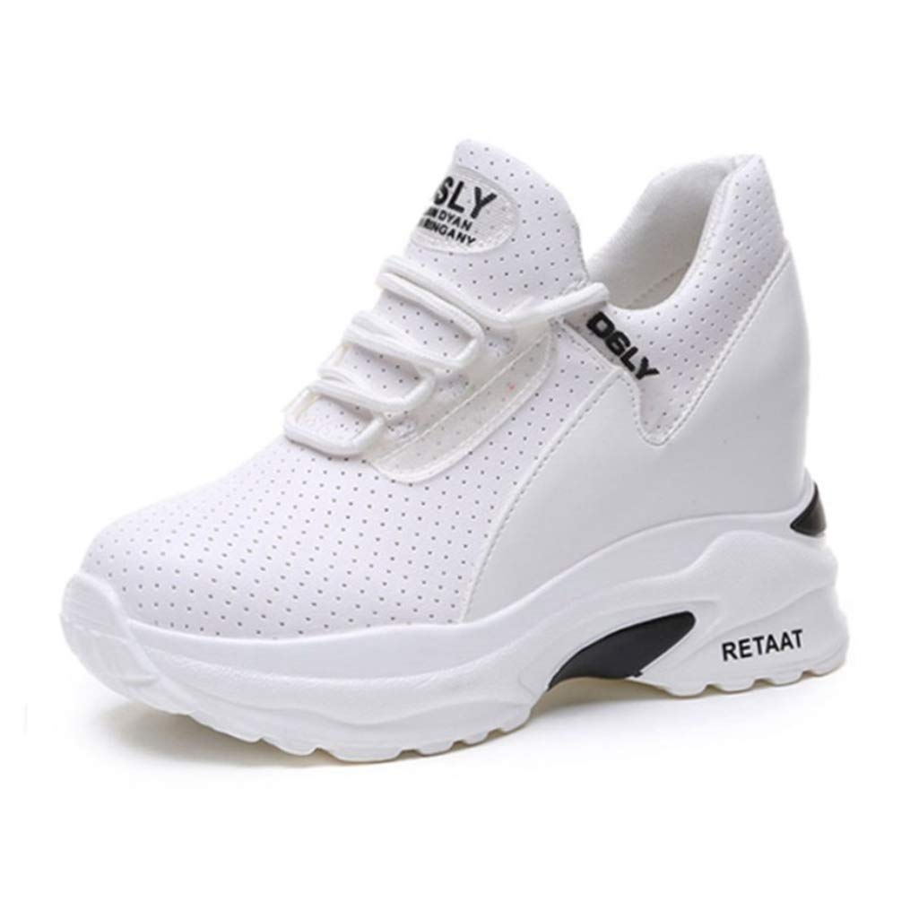 White T-JULY Women Platform Wedge Heels Casual shoes Spring Leather Breathable Sneakers Height Increasing shoes