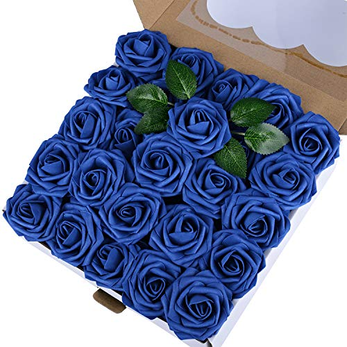 Breeze Talk Artificial Flowers Navy Blue Roses 50pcs Realistic Fake Roses w/Stem for DIY Wedding Bouquets Centerpieces Arrangements Party Baby Shower Home Decorations (50pcs Navy