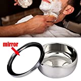 stand mixer skins - Ikevan Fashion Stainless Steel Double Layer Shaving Mug Lid Bowl Cup For Shave Brush (No Shaving Brush )