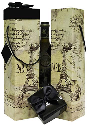 (Wine Gift Box x2 - Reusable Caddy - Easy to Assemble - No Glue Required - Gift Tag and Ribbon Included - Eiffel Tower Paris Design - Medoc Collection - EZ Wine Gift Box by Endless Art US)