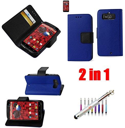 2 IN 1 (Magnet)Wallet Case+New SNK Stylus Pen for Motorola Droid Mini Xt1030 (BLUE)