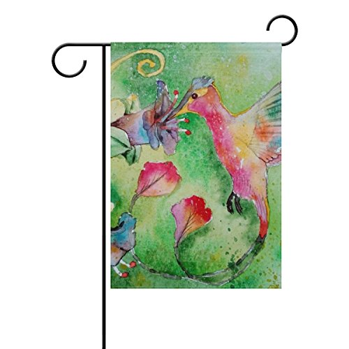 Home Decorative Outdoor Double Sided Figure Bird Painting Hummingbird Flowers Nature Garden Flag,house Yard Flag,garden Yard Decorations,seasonal Welcome Outdoor Flag 12 X 18 Inch Spring Summer Gift