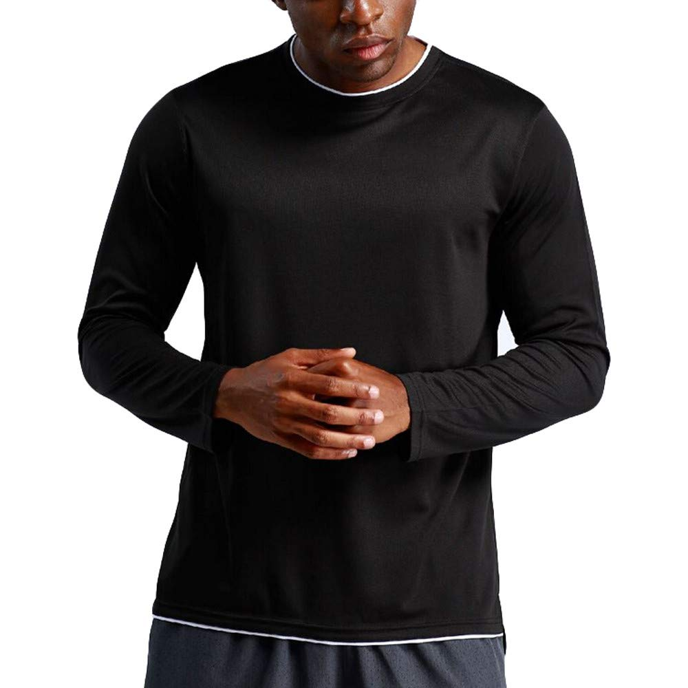 Cuekondy Men's Long Sleeve T-Shirt Base Layer Dry Fit Compression Top Sport Workout Fitness Athletic Shirts(Black,M)