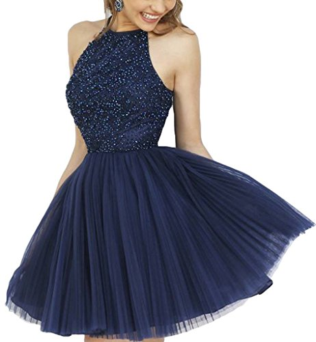Dress Kurz Damen Fanciest Beaded Navy Blue Heimkehr Abendkleider Ballkleid Halter 2016 xfq78qnFa