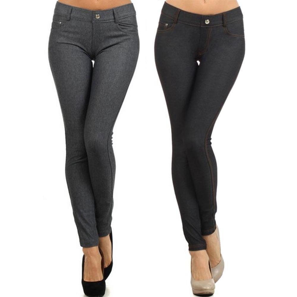 Yelete Womens Basic Five Pocket Stretch Jegging Tights Pants, Small, 2pk Grey&Black