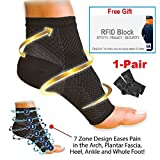 Top1 Premium Ankle Support Copper Compression Sleeves Unisex, Plantar Fasciitis Foot Socks, Fast Relief from Swelling & Foot Pain + (Free Gift 1pc RFID Block Sleeve) (Small /Medium)