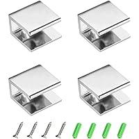 YQ 4 Piezas Abrazaderas de Vidrio 8-12mm, Soporte de Vidrio Para Baño Rectangular Ajustable con Doble Orificio,Aleación…