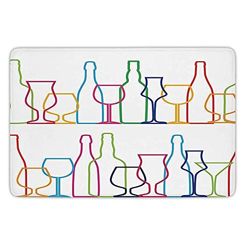 Bathroom Bath Rug Kitchen Floor Mat Carpet,Wine,Colorful Outline Bottles and Glasses Bar Party Drink Cocktails Modern Fun Collection Decorative,Multicolor,Flannel Microfiber Non-slip Soft Absorbent