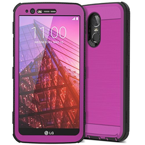 LG Stylo 3 Case, CinoCase LG Stylo 3 Plus Case Heavy Duty Armor Protective Case Hybrid TPU Bumper Shockproof Case with Brushed Metal Texture Hard PC Back for LG Stylo 3 / LG Stylo 3 Plus Purple