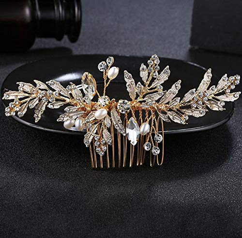 Leaf Comb - Deniferymakeup Wedding Gold Rhinestone Pearls Flower and Leaf Hair Comb Bridal Vintage Headpiece Crystal Women Hair Comb Bridal Hair Comb Wedding Hair Piece Wedding Accessories Jewelry Set