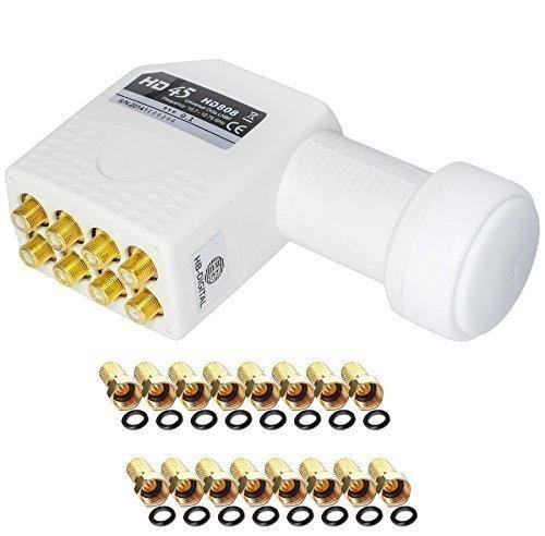 OCTO LNB LNC 8 Teilnehmer Direkt FULL HD TV 3D + Kontakte vergoldet + Wetterschutz (ausziehbar) in HB DIGITAL SET mit 8 F-Stecker vergoldet GRATIS dazu