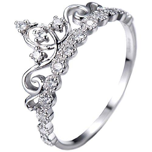 Guliette Verona Dainty Rhodium-plated Sterling Silver Princess Crown Ring