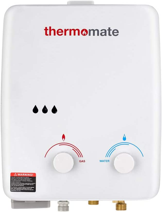 Calentador de Agua a Gas, thermomate AZ132 5L Ducha de Gas Propano Instantáneo, Intercambiador de Calor de Cobre Puro, uso para Caravana, Camping, Barco