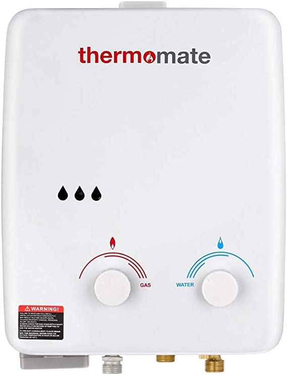 Calentador de Agua a Gas, thermomate AZ132 5L Ducha de Gas Propano Instantáneo, Intercambiador de Calor de Cobre Puro, uso para Caravana, Camping, ...