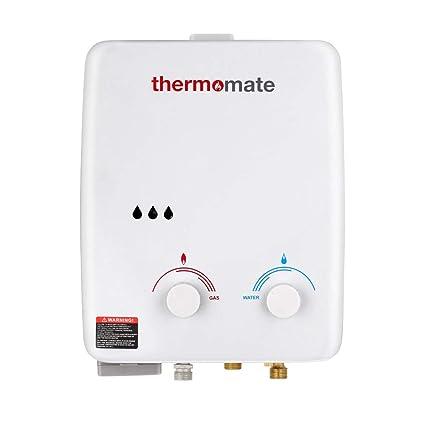 Calentador de Agua de Gas, thermomate AZ132 5L Ducha de Gas Propano Instantáneo, Intercambiador