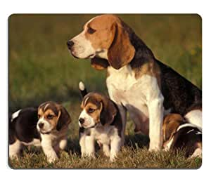 Beagle Family Baby Animal Portrait Outside Mouse Pads Customized Made to Order Support Ready 9 7/8 Inch (250mm) X 7 7/8 Inch (200mm) X 1/16 Inch (2mm) High Quality Eco Friendly Cloth with Neoprene Rubber MSD Mouse Pad Desktop Mousepad Laptop Mousepads Comfortable Computer Mouse Mat Cute Gaming Mouse_pad