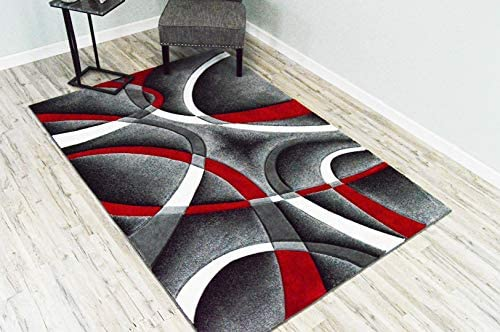 Premium 3D Effect Hand Carved Thick Modern Contemporary Abstract Area Rug Design 2305 Red 5'3''x7'6''