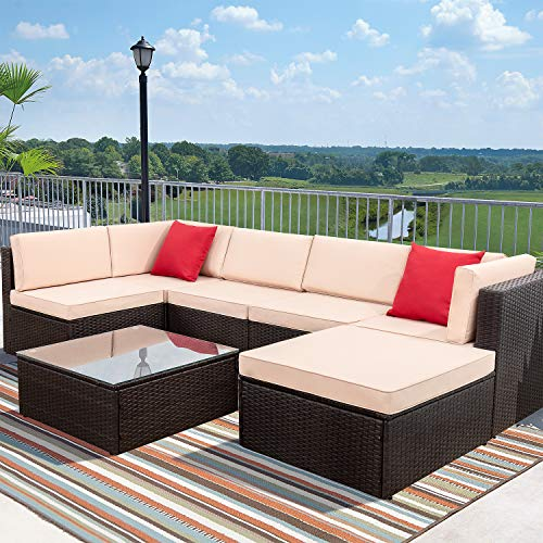 Devoko 7 Pieces Patio Furniture Sets All-Weather Outdoor Sectional Sofa Manual Weaving Wicker Rattan Patio Conversation Set with Cushion and Glass Table (Brown) ()