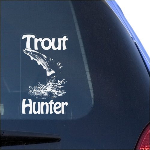 Trout Fish Hunter Clear Decal Sticker for Window, Fly Fishing Sign Art Print