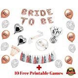 Rose Gold Bridal Shower Decorations and Games:228pcs Bachelorette Gifts Bride to Be Banner, Tassels, Sash, Heart/Ring Foil, Confetti and she Said yaas Balloons,Straws,Confetti Party Favors Supplies