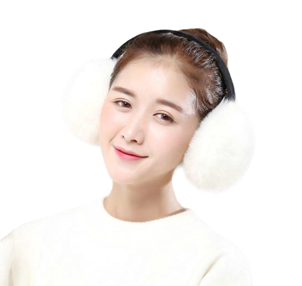 Women's Faux Fur Plush Earmuffs Adjustable Fashion Ear Warmer Winter (White) by Elfjoy