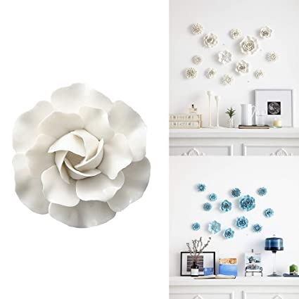 Alycaso Artificial Flowers Wall Decoration For Living Room Bedroom Hanging 3d Wall Art Ceramic Flower Pediments Sculpture White Sets F10