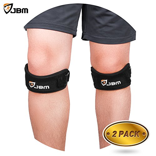 JBM Multi Sport Adjustable Patella Knee Pads Knee Support Strap Band Knee Brace Protector Stabilizer for Running Cycling Hiking Volleyball Soccer and Other Sports (One Size Fits All, 2 Pack-Black)