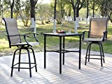 EMERIT Patio Metal Outdoor Bistro Bar Square Table