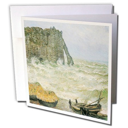 1883 Rough (3dRose BLN Claude Monet Collection - Etretat, Rough Sea by Claude Monet, 1883-1 Greeting Card with envelope (gc_126606_5))