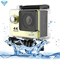 Professional Product Easy to Use H9 4K Ultra HD1080P 12MP 2 inch LCD Screen WiFi Sports Camera, 170 Degrees Wide Angle Lens, 30m Waterproof ( Color : Yellow )