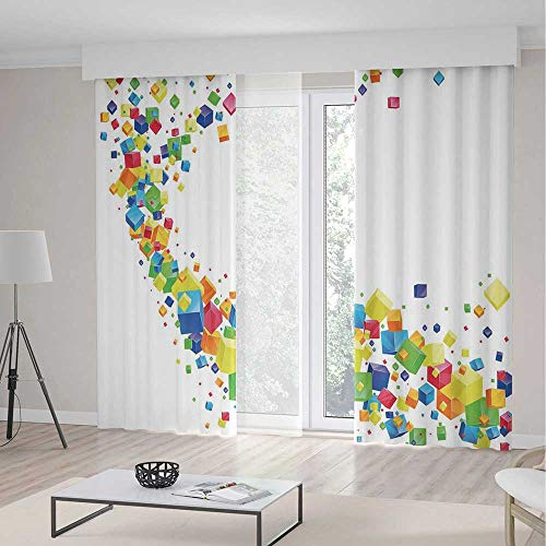 (YOLIYANA Windows Blackout Curtain,Abstract,Living Room Bedroom Curtain,3D Wave of Multicolored Cubes Future Inspired Art Diversified Geometrical Shapes Decorative2 Panel Set,70W X 98L Inches)