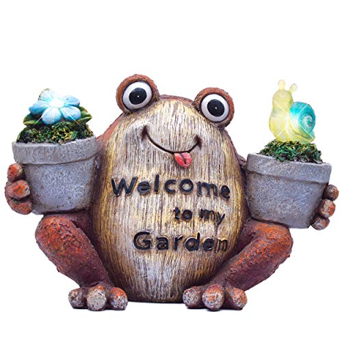 TERESA'S COLLECTIONS 8.5X5.7 Inch Welcome Sign Garden Statues Frog Figurines, Solar Powered Garden Lights for Outdoor Patio Yard Decorations