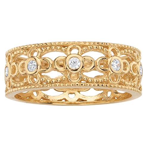 Yellow Gold Anniversary Band (18k Gold over .925 Sterling Silver Round White Cubic Zirconia Filigree Ring Size 6)