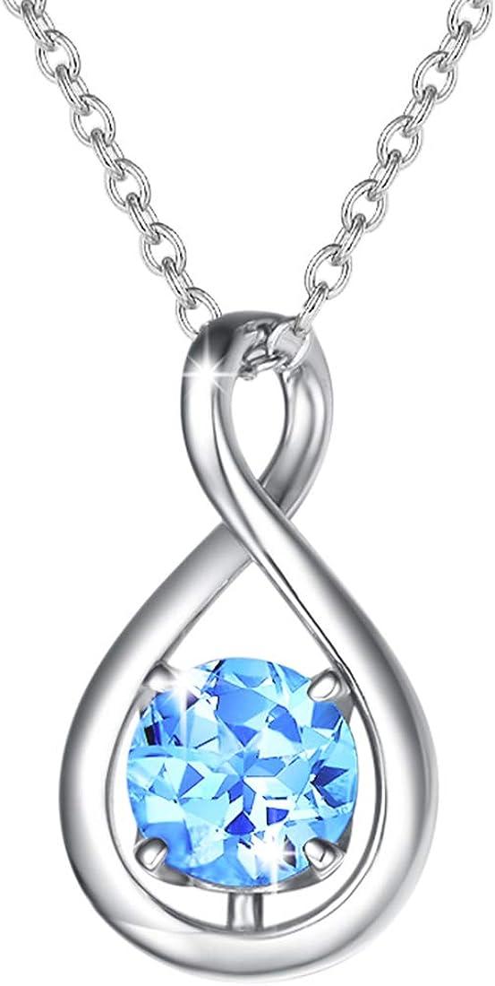 Plata de Ley 925 Collar de Piedra Natal de Octubre Collar Infinity de Turmalina Sintética con Elegante Joyero Regalo de Aniversario de Graduación de Cumpleaños para Mujer Niña, 40+5cm