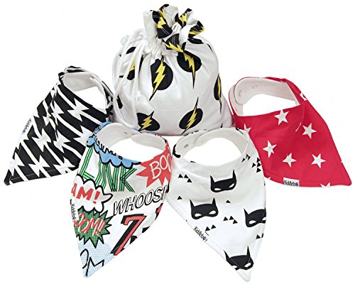Bandana Baby Bibs SAVE 36% - For Drooling and Teething 4 Pack Best Gift Set For Super Hero Baby Boys and Girls by Kiddlets