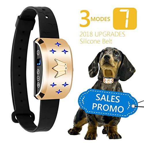Bark Collar [2018 Upgrade Chip] No Bark Collar Dog Small Bark Collar Shock Collar with Beep, Vibration Harmless Shock, Rechargeable Anti Bark Control Device for Small Medium and Large Dog