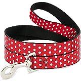 Disney Minnie Mouse Polka Dot/Mini Silhouette Red/White Dog Leash 0.5' Wide, 6' Long, Multicolor