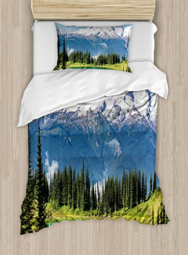 Landscape Duvet Cover Set by Ambesonne, Lake and Snowy Glacier Peak in Washington USA Tall Pine Tree Forest, 2 Piece Bedding Set with Pillow Sham, Twin / Twin XL, White Blue and Green Glacier Christmas Tree